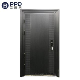 FPL-8008 Black Aluminium Plate Stainless Steel Panel Entry Aluminium Cast Door